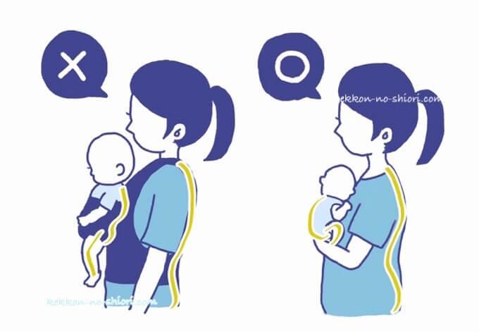 赤ちゃん 抱っこ いい姿勢 悪い姿勢